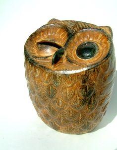 Vintage 1960s Ceramic Owl Piggy Bank by VermontVintagegoods  :D