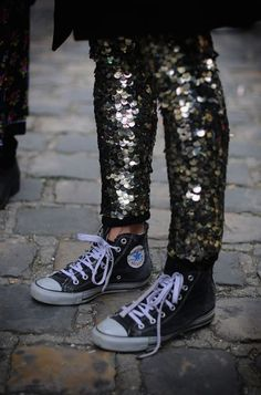 sequin pants and sneakers