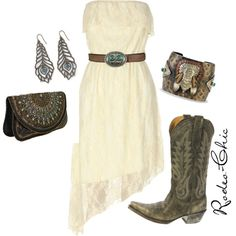 """Prairie Chic"" by rodeo-chic on Polyvore, Old Gringo Nevada cowboy boot with lace dress, western, bohemian"