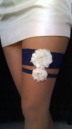 Wedding Garter - Navy Blue Wedding Garter - Bridal Garter. $26.00, via Etsy. But with pink flowers!