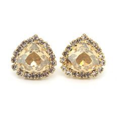 Champaign Crystal stud Petite vintage earring  14k 1 by iloniti, $43.00