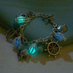 Mermaids Magic Charm Bracelet - Featuring Mini Mermaids Magic and Ocean Inspired Charms and Gemstones - Amazing Glow in the Dark Effects