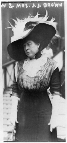 """""""The Unsinkable"""" Molly Brown steps off the Carpathia after being rescued from the Titanic."""