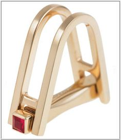 Longmire double stirrup 18k rose I gold and ruby cufflink. Design inspired by the Art Deco designs of the 1930's