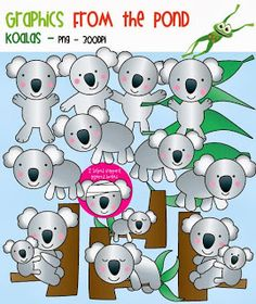 ALL PROFIT  goes to helping injured koalas. Please support this casue. Koala Clipart Set