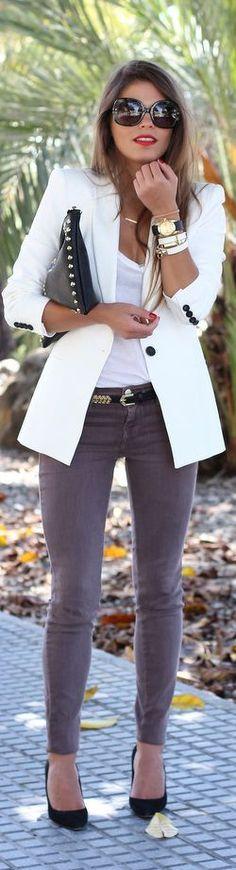 jacket, jean, woman fashion, white blazer, clutches, outfit, black shoes, grey, blazers
