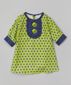Look what I found on #zulily! Green Button School Girl Dress - Toddler & Girls by Secretly Spoiled #zulilyfinds