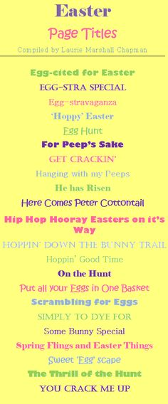 Easter Scrapbook Page Titles