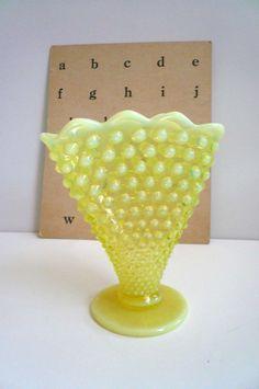 Vintage Yellow Vaseline Opalescent Vase