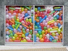happy birthdays, store windows, birthday parties, window displays, balloon window, funny commercials, balloons, jelly beans, shop windows