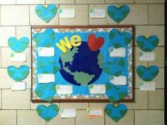 Earthday bulletin board idea! Can take this and make it usable for other days :)