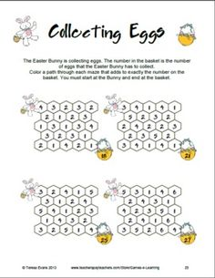 Easter Math Puzzle sheet from Easter Math and Literacy Fun and Games by Games 4 Learning $