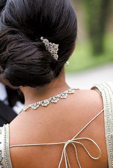 Chic Side Chignon with Hair Pin, Long Straight Hair.
