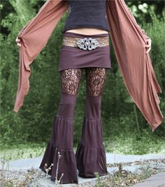 Lace Zumi Pants in Brown Floral Lace by ElvenForest on Etsy, $110.00