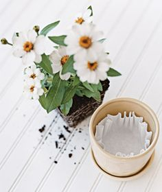 Coffee Filter as Soil Saver    Place one filter over a flowerpot's drainage hole to prevent soil from leaking out.
