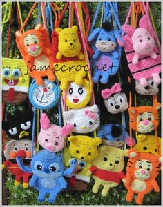 mini crochet, charact bag, crocheted bags, backpack idea, crochet bag, mini handbag, disney crochet patterns