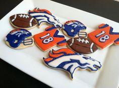Denver Broncos NFL Cookies Football by TheTreatsbyTrishShop, $35.00