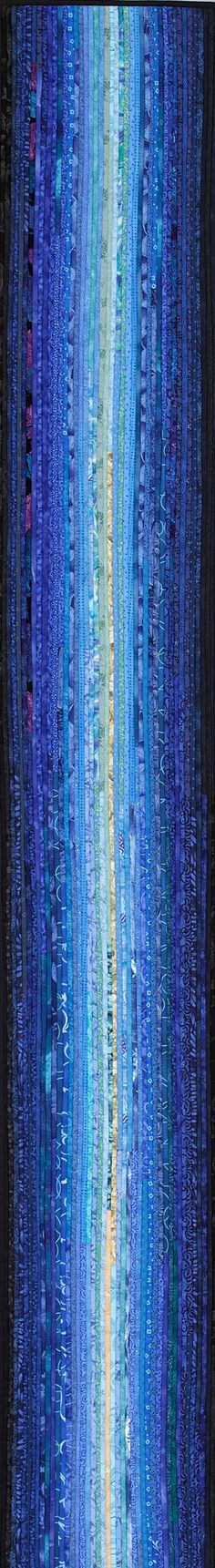 "-blue river--12 x 80"",very thin strips of commercial cottons and can be either a long wall hanging or a table runner- #quilts #artquilts http://www.annbrauer.com"