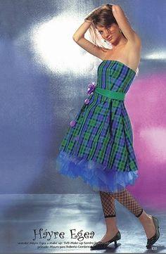 Vestido de quince de cuadros en verde y azul - Fifteen dress in green and blue