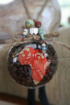 coffee filled christmas ornament.
