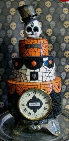 mosaic cake. i like the idea. | RP » Skeleton Halloween Cake | #fall #autumn #halloween #treats