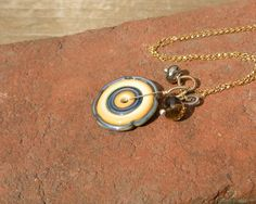 Glass Disc Necklace // Lampwork Necklace // Mixed Metal Jewelry on Etsy, $48.00
