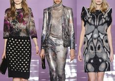 LES COPAINS A/W2014/15-Distressed Painterly Prints – Subtle Florals – Faded and Smudged – Metallic Surfaces – Enlarged Butterfly Markings – Inky and Dyed Effects – Engineered Placement Prints – Monochromatic Colour – Fuzzy Areas