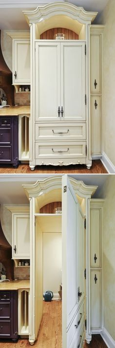 A regular looking kitchen cupboard front leads into a secret walk-in pantry room.
