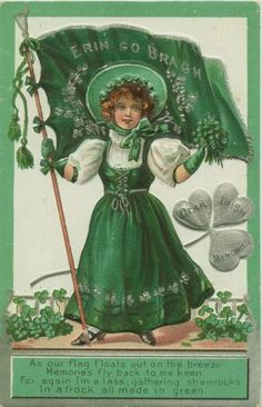 "Lass in green with Irish Flag ""Erin go Bragh"" with verse - vintage St Patrick's Day postcard circa 1910."