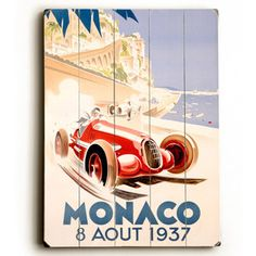 1937 Monaco Grand 14x20 now featured on Fab. Vintage Artwork On Wood Signs  Founded by Richard Weedn and Terrence Flynn in 2000, ArteHouse is one of the world's largest publishers of vintage posters. This collection presents an eclectic assortment of inspiring and idyllic imagery and travel ads, beautifully printed on ready-to-hang wood signs.