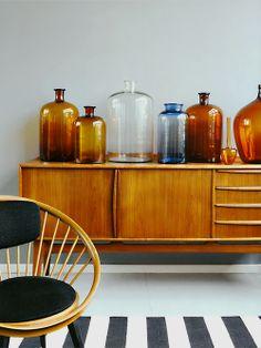 decor, antique bottles, mid century modern, interior design, vintage bottles, kids room design, apothecary jars, glasses, amber glass