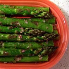 """Broiled Asparagus with Lemon Tarragon Dressing 