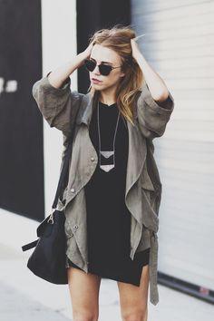 urbanNATURES City Style: Draped Olive Jacket & Black Mini Dress