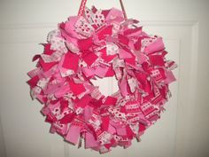 Valentine's Day/Heart Rag Wreath. $30.00, via Etsy.