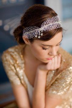 Vintage rhinestone bridal headband birdcage veil by LoBoheme, $155.00