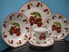 20 PC Red Cherry Dinner Set Plates Dishes Cherries Kitchen Decor Home Dinnerware | eBay