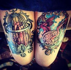 heart brain tattoo, thigh tattoos, caged heart tattoo, heart in a cage, heart and wings tattoo, tattoo ink, heart tattoos, cage heart, teresa sharpe