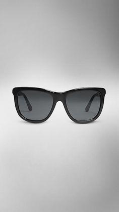 Burberry Wood Detail Square Frame Sunglasses