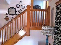 Cute stairway mirror display:  Mama gets real blog.