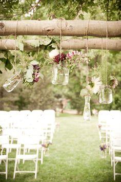 Hanging flower jars and bottles