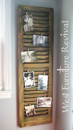 SHUTTER REPURPOSED -I put a pair of red wooden shutters inside the windows of my son's room.  He could put all of his baseball cards, pics, ticket stubs , treasures throughout the yrs..