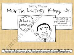 FREEBIE: Let's Draw Martin Luther King, Jr. from Miners-Monkey-Business Shop - | Teachers Notebook drawings, direct draw, happy birthdays, kindergarten monkey, mlk jr, martin luther, miner kindergarten, school idea, luther king