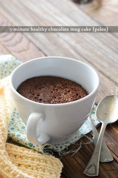 5-Minute Healthy Chocolate Mug Cake #paleo #grainfree #glutenfree #dessert #recipe