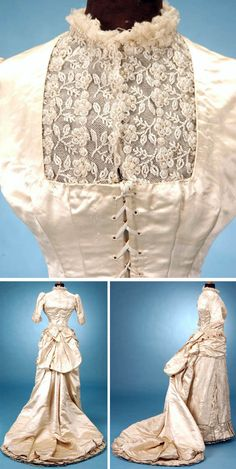 Moiré & brocade wedding gown, ca. 1882. Tiny seed pearls & beads form design of scrolling flowers & vines. Tulle trims collar & undersleeves. Brocade bow at lower back. Front skirt panels of brocade split to reveal ruched moiré silk. Outer hem with inverted box pleats. Skirt lined with stiffened gauze & muslin. Two rows of Lille lace-trimmed dust ruffles on underskirt. Bodice with brass-tipped silk laces. Beaded modesty panel. Trousseau.net via Wayback Machine