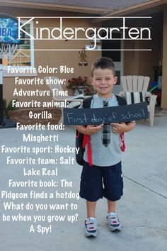 First day of Kindergarten.  Spelling mistakes on purpose.  That is how he says pigeon and spaghetti.