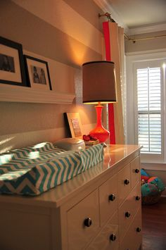 changing table, gray striped nursery