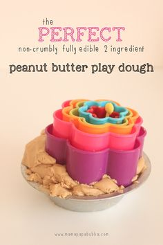 The PERFECT {non-crumbly, EDIBLE, 2-ingredient} Peanut Butter Play Dough | Mama.Papa.Bubba.