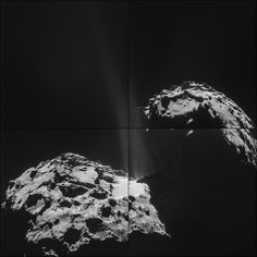 The four images that make up this montage of comet 67P/Churyumov–Gerasimenko were taken on Sept. 26, 2014 by the European Space Agency's Rosetta spacecraft. At the time, Rosetta was about 16 miles (26 kilometers), from the center of the comet.  In the montage, a region of jet activity can be seen at the neck of the comet. These jets, originating from several discrete locations, are a product of ices sublimating and gases escaping from inside the nucleus.