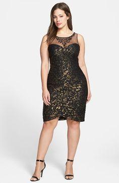 Adrianna Papell Metallic Pattern Shirred Sheath Dress (Plus Size)