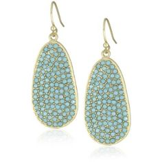 Flying Lizard Designs Turquoise Crystals Oval Drop Earrings
